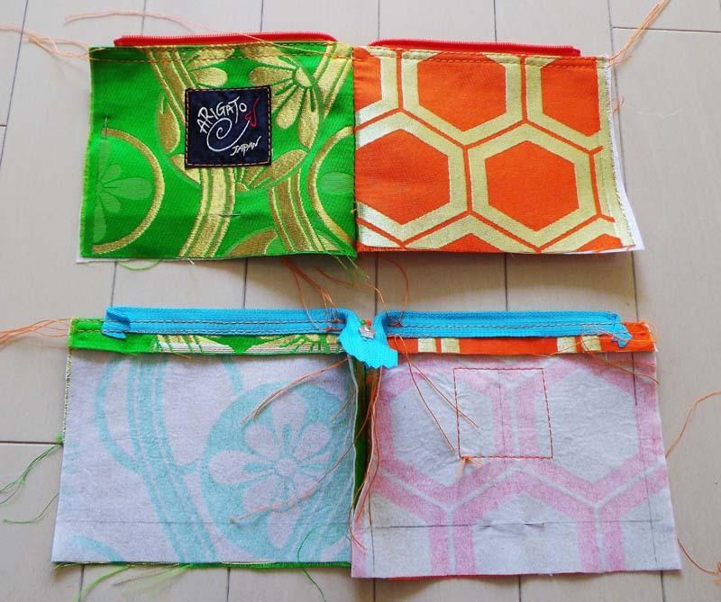 アンティーク帯ポーチの縫製過程1