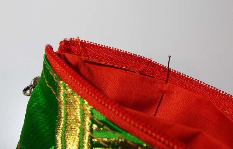 アンティーク帯ポーチの縫製過程4